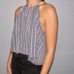 Blue and gray stripped tank top